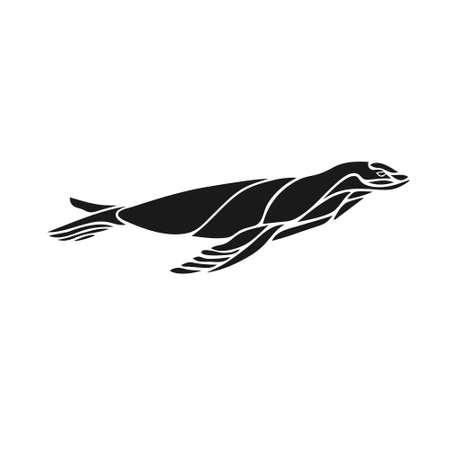 Seal animal creative silhouette vector illustration eps10 Ilustração