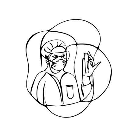 Outline vector illustration of character doctor take a sample on thru drive covid-19 check point for testing during covid-19 virus situation