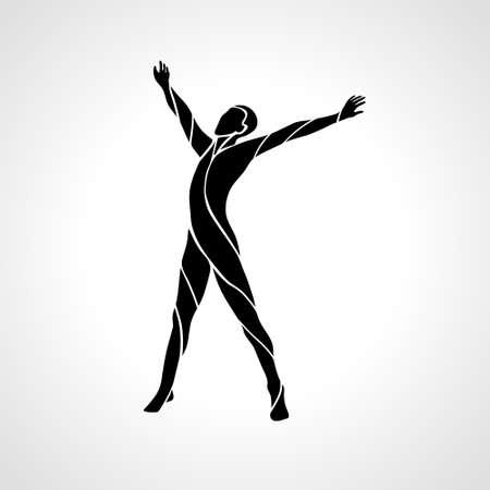Awakening Arm raised man silhouette vector illustration