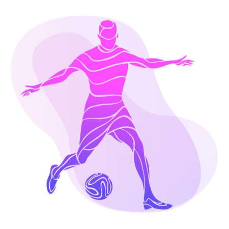 Soccer player kicks the ball. Purple vector illustration