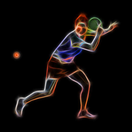 Table tennis abstract player neon illustration on black back