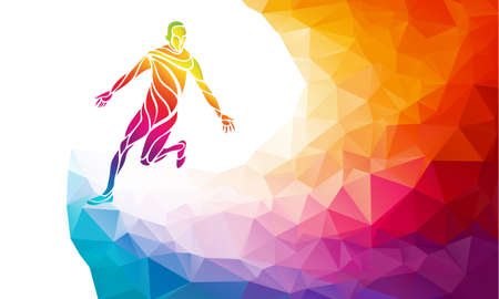 Marathon runner. Running silhouette in trendy abstract colorful polygon style with rainbow back