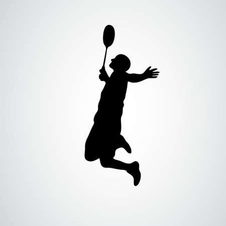 Badminton player in smash action vector illustration