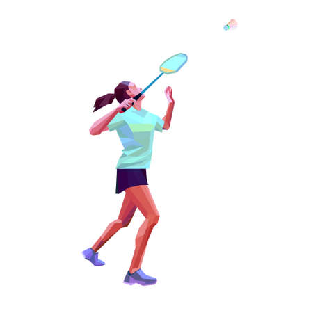 Polygonal professional female badminton player. Vector illustration