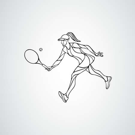 Tennis player female stylized abstract vector silhouette Ilustração