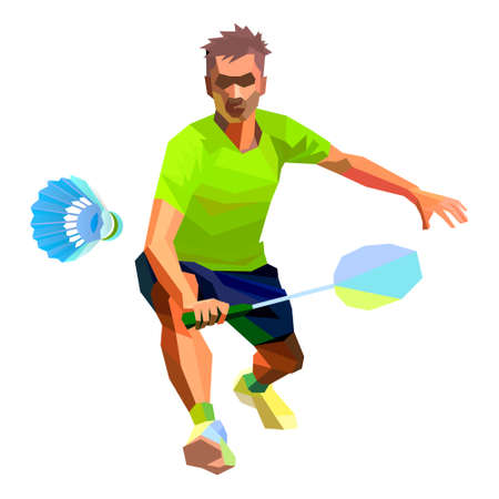 Professional badminton player illustration on white background doing net shot vector illustration Ilustração
