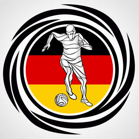 Football player kicks the ball in German flag colors. Soccer - Template