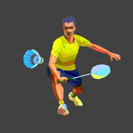 Badminton player abstract silhouette with shuttlecock vector
