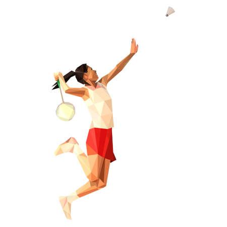 Geometric polygonal professional badminton player, jumping smash Ilustração