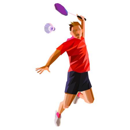 Polygonal professional badminton player doing smash shot Vector illustration Ilustração