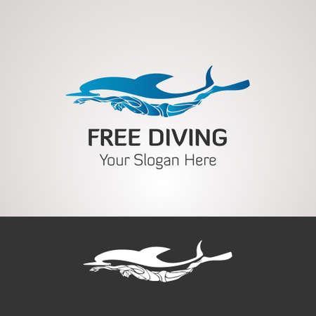 Free diver and dolphin. Freediving logo vector illustration Ilustração