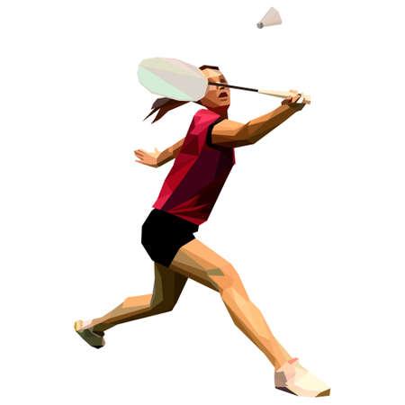 Geometric polygonal professional female badminton player Ilustração