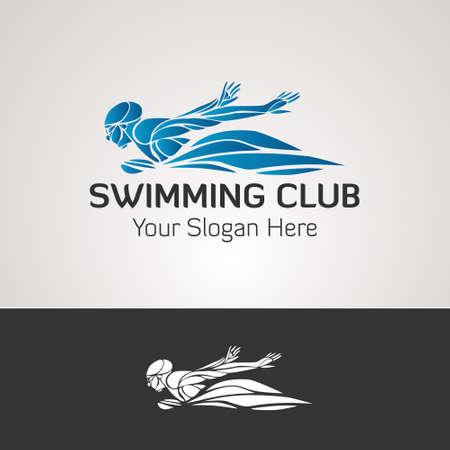 Swimming club vector logo ocean sea color swimmer label Ilustração