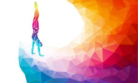 Male gymnast in artistic gymnastics color vector clipart Ilustração