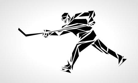 Hockey player abstract silhouette vector illustration Ilustração