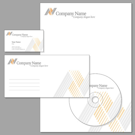 Vector Set of Corporate identity (Envelope, Visiting card, Headed note-paper, CD) Vector