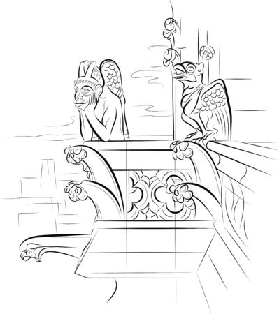 chimera: Chimera on the top of Notre-Dame de Paris. Vector illustration