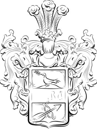 Vintage emblem on a stone, Kotor,  Montenegro. Vector illustration