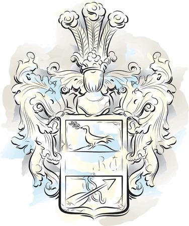 Vintage color emblem on a stone, Kotor,  Montenegro. Vector illustration