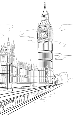 london city: Drawing big Ben of Tower in London, UK
