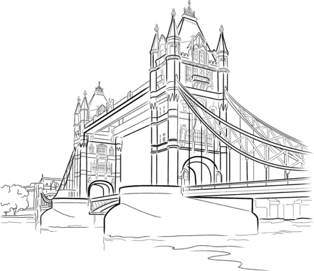 london tower bridge: Drawing Tower bridge in London, UK Illustration
