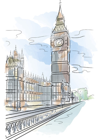 Drawing color big Ben of Tower in London, UK Vector