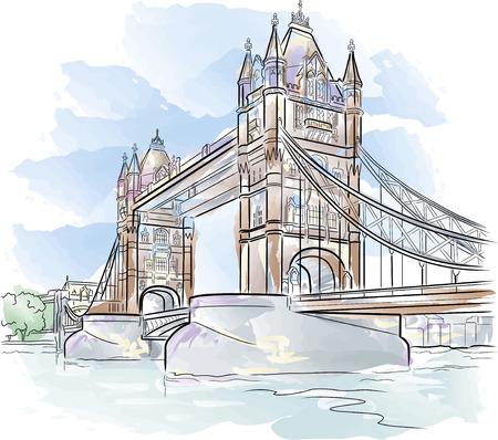 Drawing color Tower bridge in London, UK Vector