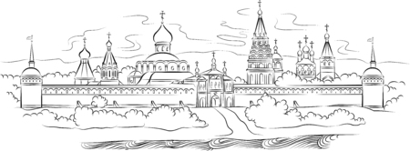 The drawing of Russian Monastery and river