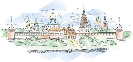 The color drawing of Russian Monastery and river Illustration