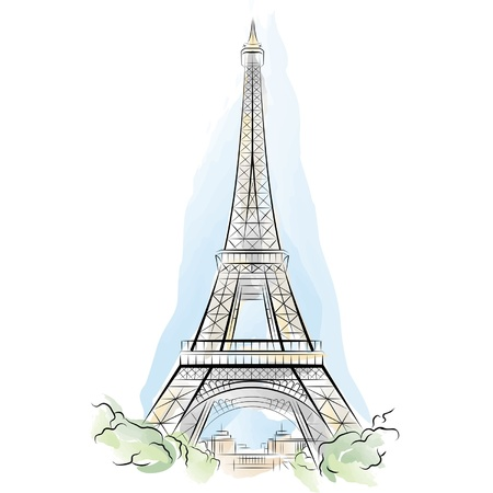 Drawing color Eiffel Tower in Paris, France. Vector illustration Stock Vector - 10118239