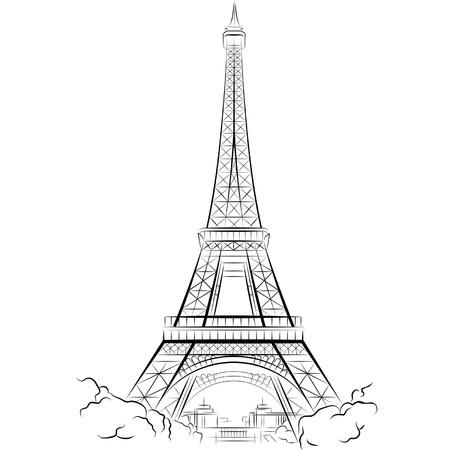 francia: Dibujo Torre Eiffel en Par�s, Francia. Ilustraci�n vectorial
