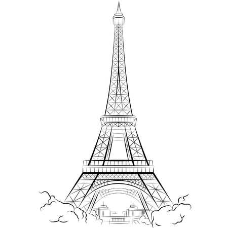 Drawing Eiffel Tower in Paris, France. Vector illustration Illustration