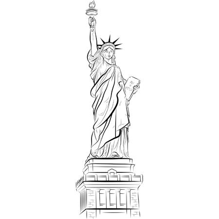동상: 미국 뉴욕의 자유의 여신상을 그리기. 벡터 일러스트 레이 션