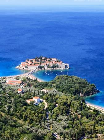 isthmus: Sveti Stefan (St. Stefan) island-resort in Adriatic sea, Montenegro
