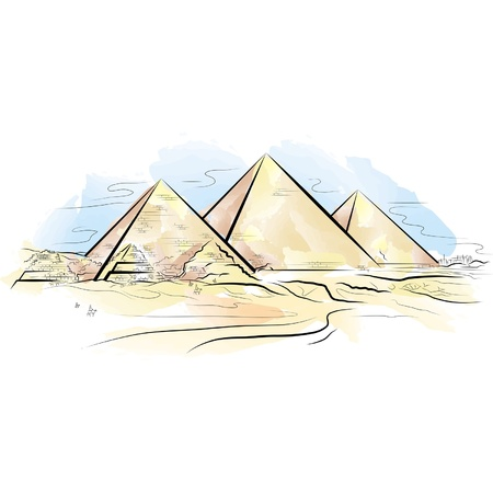 archeology: Drawing color piramids and desert in Giza, Egypt. Illustration