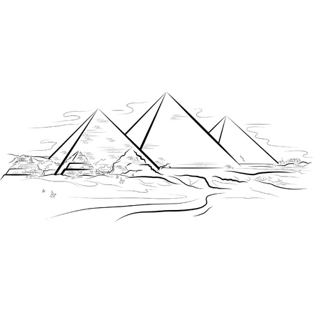 Drawing color piramids and desert in Giza, Egypt.  Vector