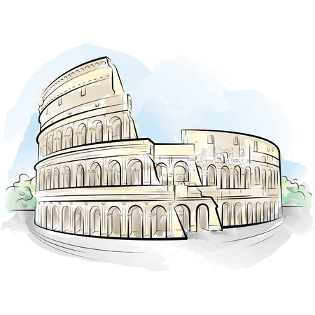 amphitheater: Drawing color Colosseum, Rome, Italy.