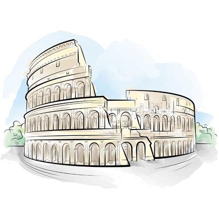 Rysunek kolor Koloseum, Rzym, WÅ'ochy. Ilustracje wektorowe