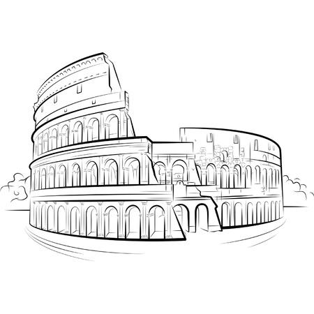 roma antigua: Dibujo Coliseo, Roma, Italia.