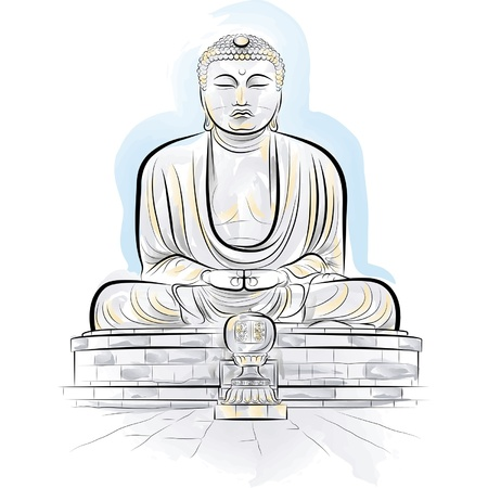 kyoto: Disegno a colori Buddha gigante monumento a Kamakura, Giappone. Vettoriali