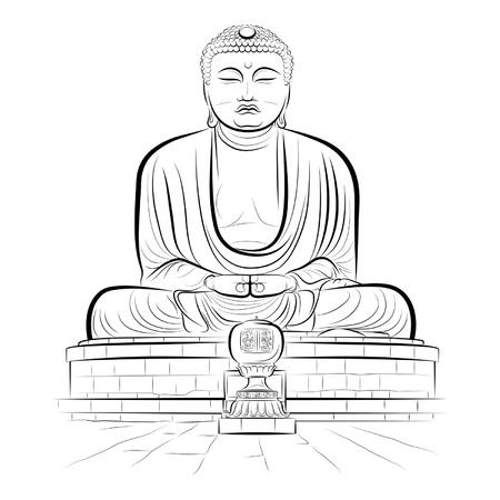 smiling buddha: Drawing giant Buddha monument in Kamakura, Japan.