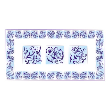 Old tiles color portuguese frame. Vector