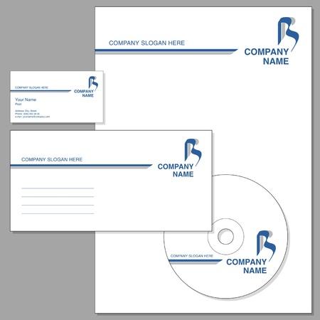 hojas membretadas: Conjunto de identidad corporativa (envolvente, tarjeta de visita, encabezada nota-papel, CD)
