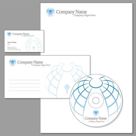 headed: Set di Corporate identity (Envelope, Biglietto da visita, guidato nota-carta, CD)