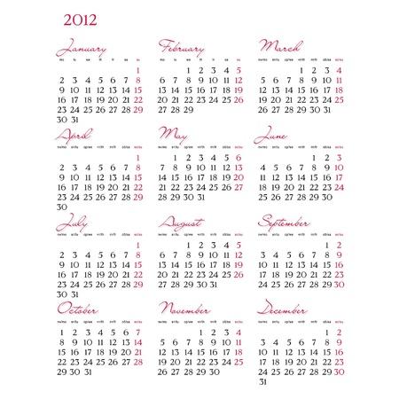 Template of 2012 calendar