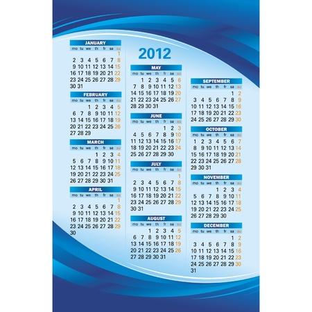 Template of 2012 calendar on blue background Illustration