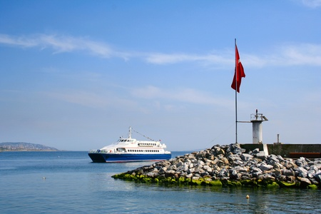 The ship near coast in a bay of Istanbul, Turkey