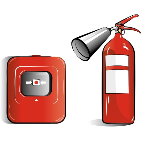 fire hazard: Drawing of the co2 fire extinguisher Illustration