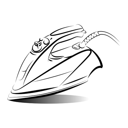 cleaning equipment: Drawing of the iron on white background