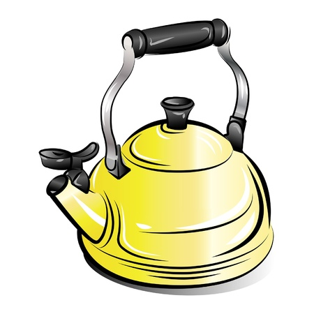 drawing of the yellow teapot kettle on white background Vetores